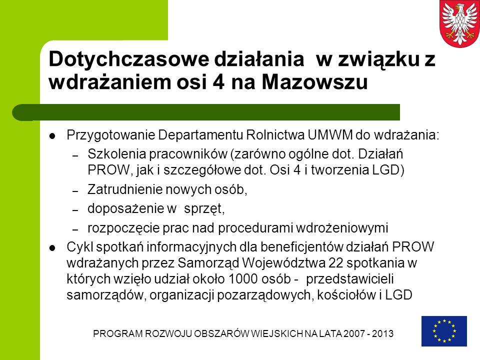 PROGRAM ROZWOJU OBSZARÓW WIEJSKICH NA LATA 2007 - 2013 Dotychczasowe działania w związku z wdrażaniem osi 4 na Mazowszu Przygotowanie Departamentu Rol