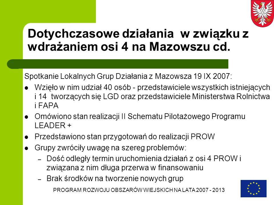 PROGRAM ROZWOJU OBSZARÓW WIEJSKICH NA LATA 2007 - 2013 Dotychczasowe działania w związku z wdrażaniem osi 4 na Mazowszu cd. Spotkanie Lokalnych Grup D