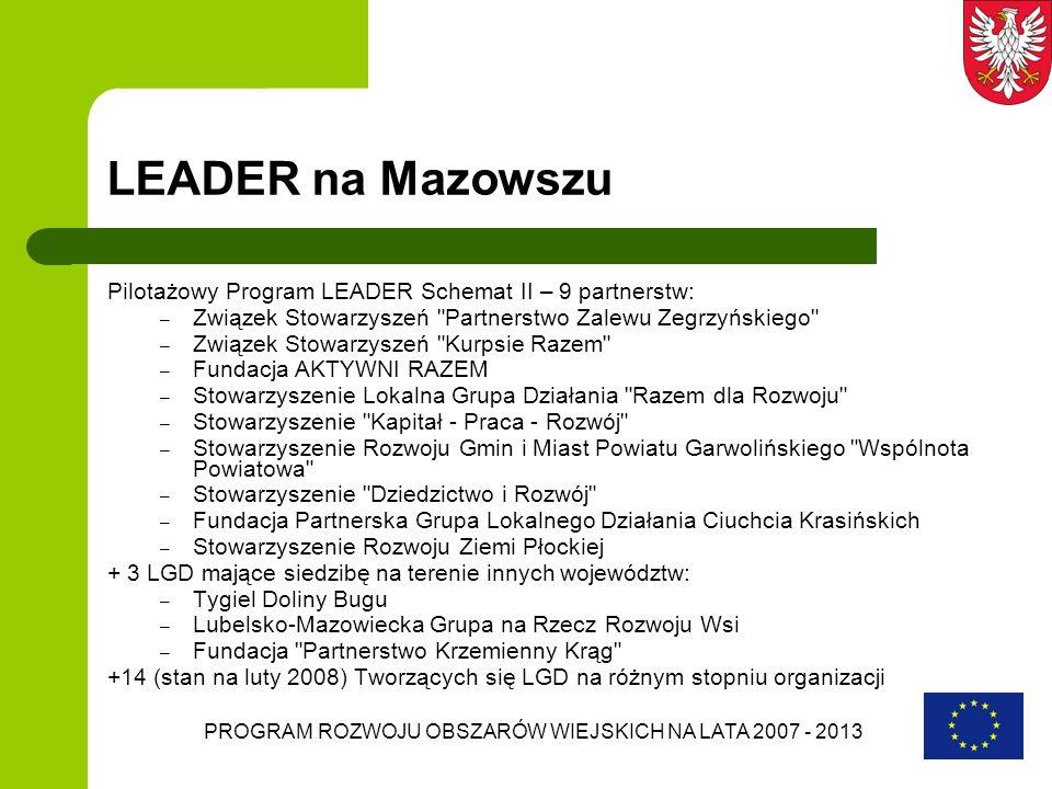 PROGRAM ROZWOJU OBSZARÓW WIEJSKICH NA LATA 2007 - 2013 LEADER na Mazowszu Pilotażowy Program LEADER Schemat II – 9 partnerstw: – Związek Stowarzyszeń
