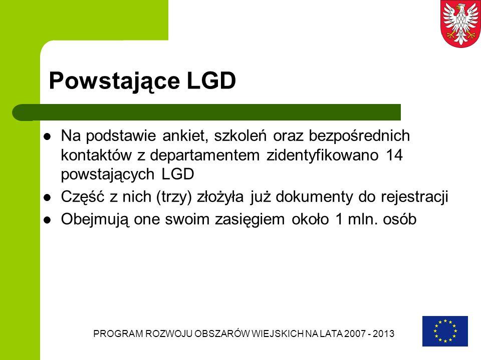 PROGRAM ROZWOJU OBSZARÓW WIEJSKICH NA LATA 2007 - 2013 Powstające LGD Na podstawie ankiet, szkoleń oraz bezpośrednich kontaktów z departamentem zident