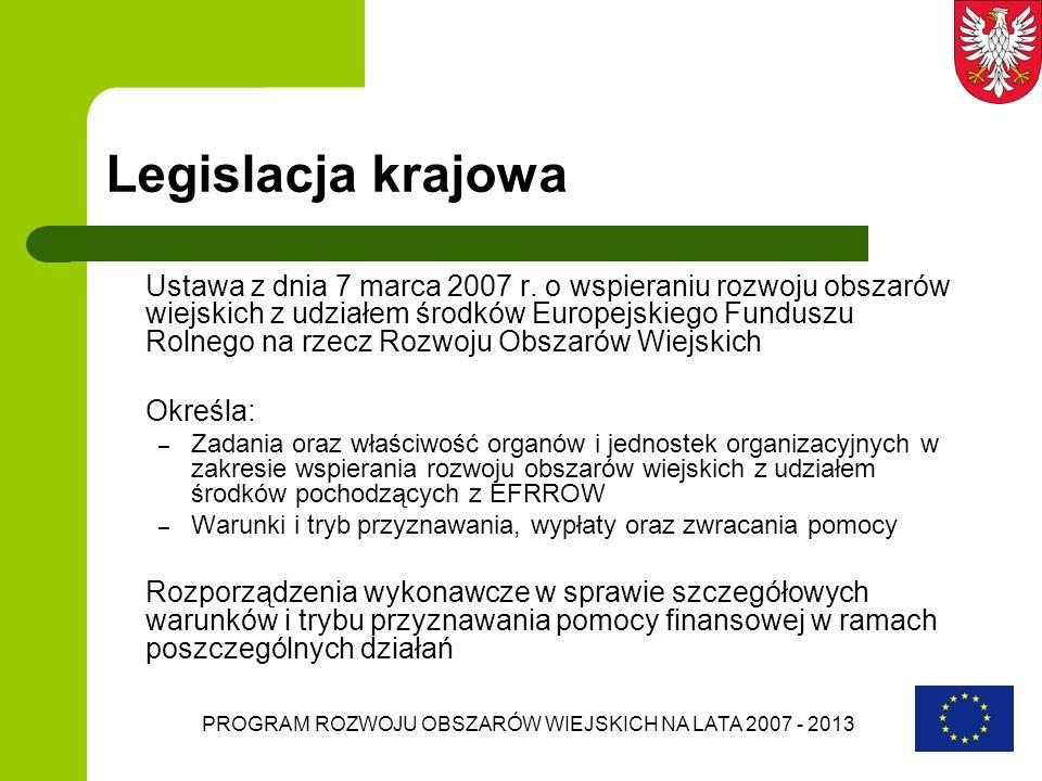 PROGRAM ROZWOJU OBSZARÓW WIEJSKICH NA LATA 2007 - 2013 Legislacja krajowa Ustawa z dnia 7 marca 2007 r. o wspieraniu rozwoju obszarów wiejskich z udzi