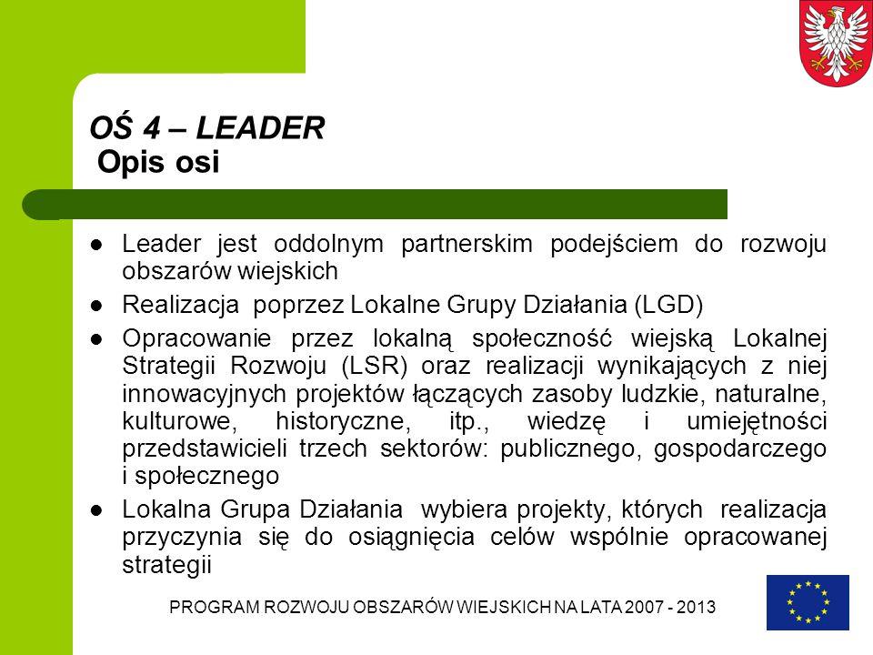 PROGRAM ROZWOJU OBSZARÓW WIEJSKICH NA LATA 2007 - 2013 OŚ 4 – LEADER Opis osi Leader jest oddolnym partnerskim podejściem do rozwoju obszarów wiejskic