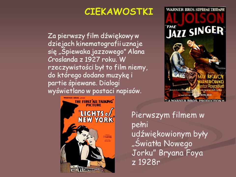 """CIEKAWOSTKI Za pierwszy film dźwiękowy w dziejach kinematografii uznaje się """"Śpiewaka jazzowego Alana Croslanda z 1927 roku."""