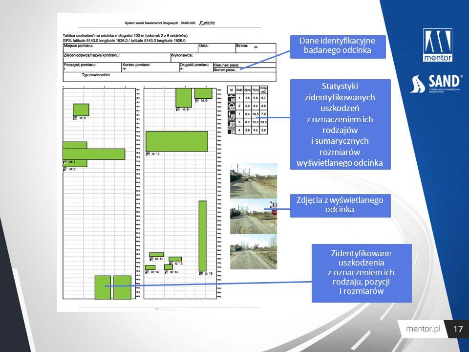 Dane identyfikacyjne badanego odcinka Statystyki zidentyfikowanych uszkodzeń z oznaczeniem ich rodzajów i sumarycznych rozmiarów wyświetlanego odcinka