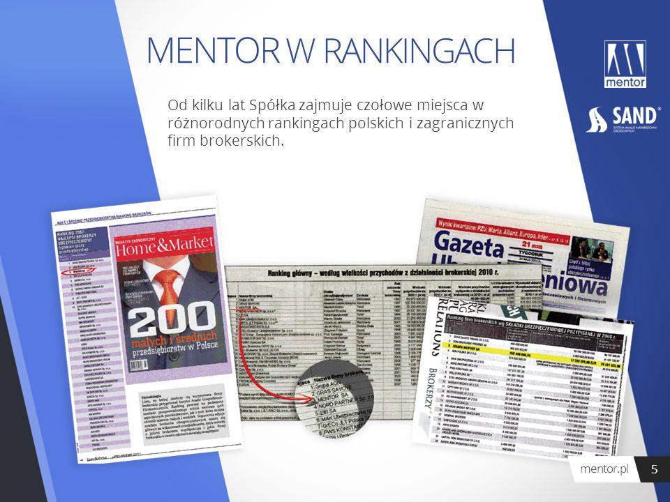 MENTOR W RANKINGACH Od kilku lat Spółka zajmuje czołowe miejsca w różnorodnych rankingach polskich i zagranicznych firm brokerskich. mentor.pl 5