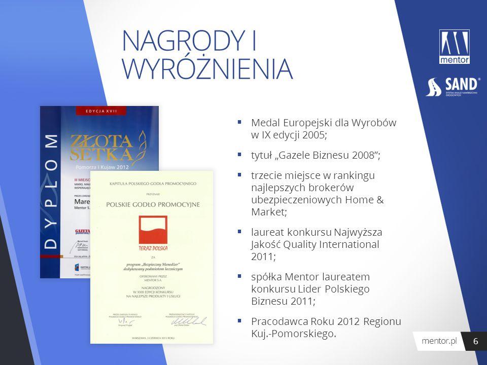 """NAGRODY I WYRÓŻNIENIA  Medal Europejski dla Wyrobów w IX edycji 2005;  tytuł """"Gazele Biznesu 2008"""";  trzecie miejsce w rankingu najlepszych brokeró"""