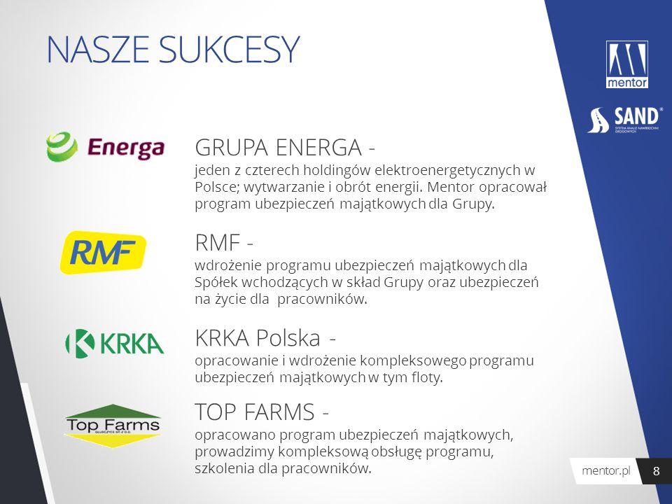 NASZE SUKCESY GRUPA ENERGA - jeden z czterech holdingów elektroenergetycznych w Polsce; wytwarzanie i obrót energii. Mentor opracował program ubezpiec