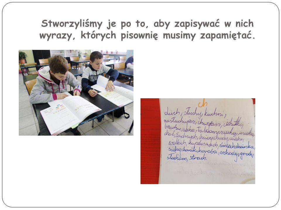 Stworzyliśmy je po to, aby zapisywać w nich wyrazy, których pisownię musimy zapamiętać.