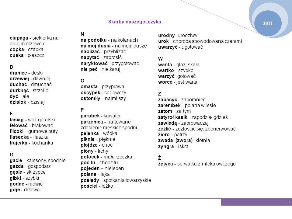 2011 Skarby naszego języka 16 WZÓR ANKIETY 1.Czy wie pani/pan o istnieniu gwary wieluńskiej.