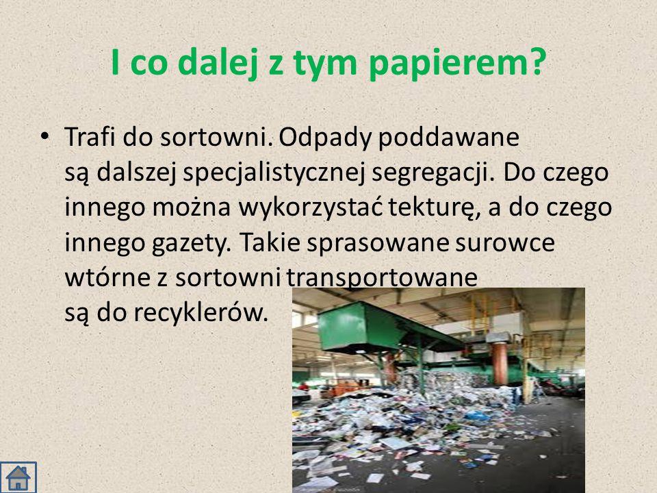 I co dalej z tym papierem? Trafi do sortowni. Odpady poddawane są dalszej specjalistycznej segregacji. Do czego innego można wykorzystać tekturę, a do