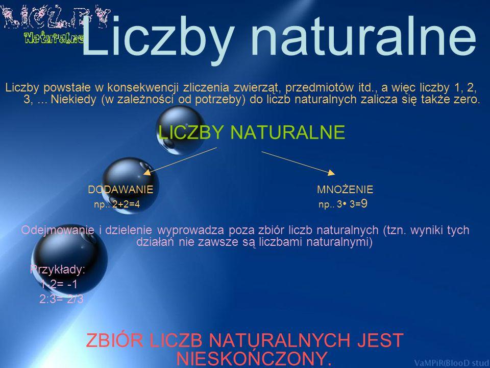 Spis tresci Liczby naturalne Dodawanie Odejmowanie Mnożenie Dzielenie wielokrotność liczb naturalnych Cechy podzielności Liczby naturalne w życiu codz