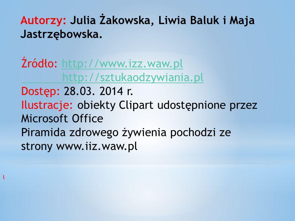 Autorzy: Julia Żakowska, Liwia Baluk i Maja Jastrzębowska. Źródło: http://www.izz.waw.plhttp://www.izz.waw.pl http://sztukaodzywiania.pl Dostęp: 28.03