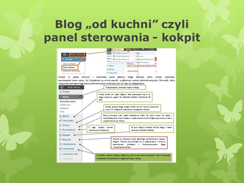 """Blog """"od kuchni czyli panel sterowania - kokpit"""