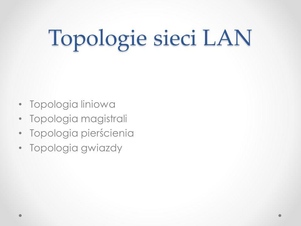 Topologie sieci LAN Topologia liniowa Topologia magistrali Topologia pierścienia Topologia gwiazdy