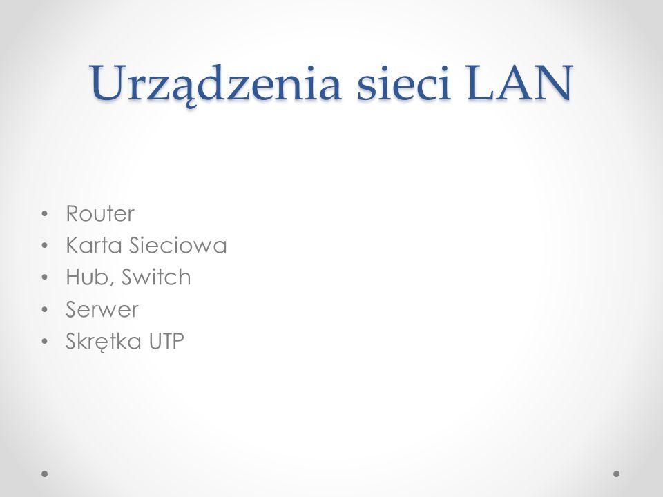 Urządzenia sieci LAN Router Karta Sieciowa Hub, Switch Serwer Skrętka UTP
