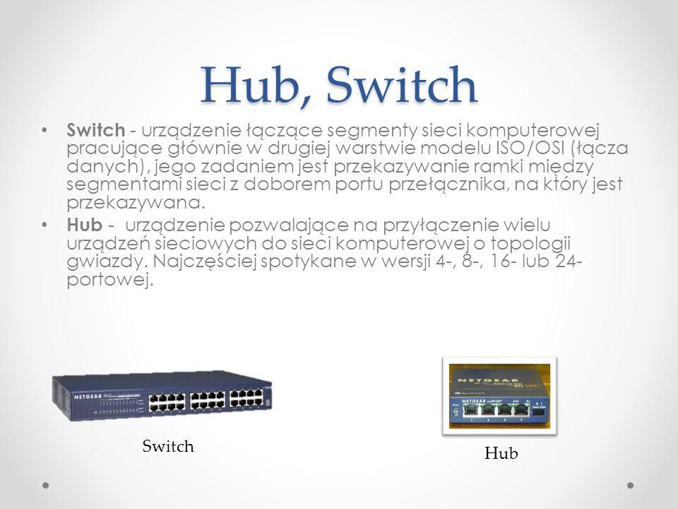 Hub, Switch Switch - urządzenie łączące segmenty sieci komputerowej pracujące głównie w drugiej warstwie modelu ISO/OSI (łącza danych), jego zadaniem