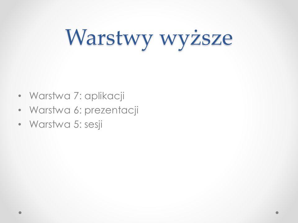 Warstwy wyższe Warstwa 7: aplikacji Warstwa 6: prezentacji Warstwa 5: sesji
