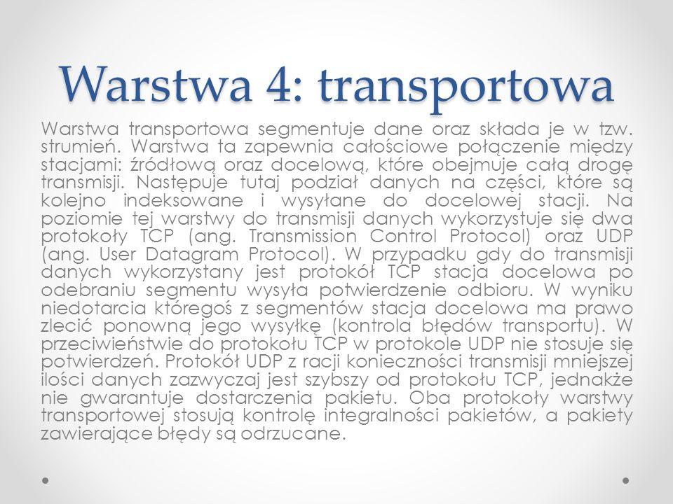 Warstwa 4: transportowa Warstwa transportowa segmentuje dane oraz składa je w tzw. strumień. Warstwa ta zapewnia całościowe połączenie między stacjami