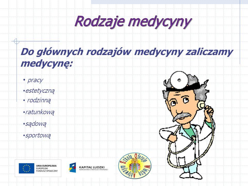 Do głównych rodzajów medycyny zaliczamy medycynę: pracy rodzinną estetyczną sądową sportową ratunkową
