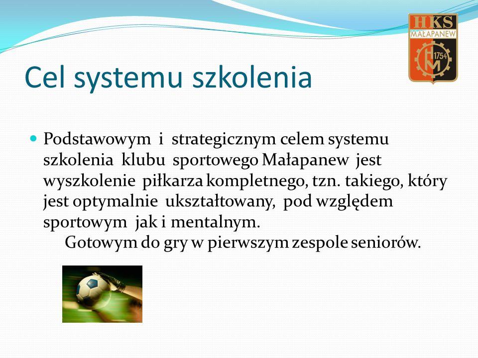 Cel systemu szkolenia Podstawowym i strategicznym celem systemu szkolenia klubu sportowego Małapanew jest wyszkolenie piłkarza kompletnego, tzn.