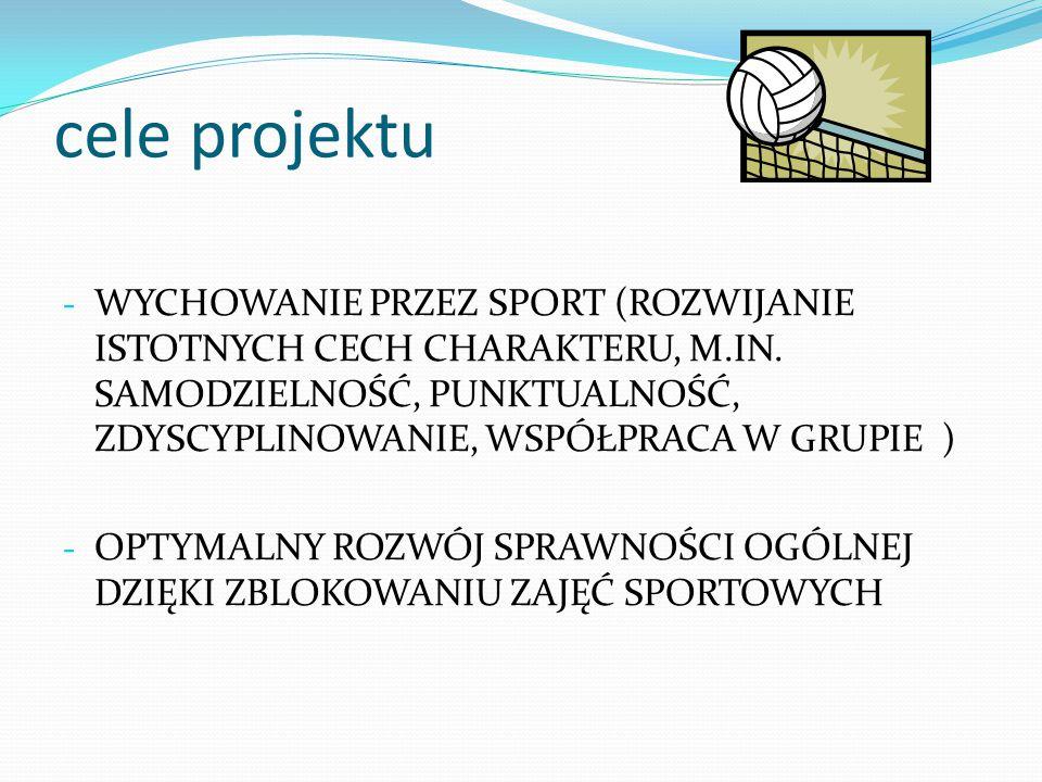 cele projektu - WYCHOWANIE PRZEZ SPORT (ROZWIJANIE ISTOTNYCH CECH CHARAKTERU, M.IN.