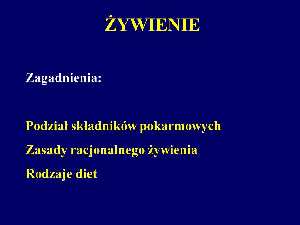 ŻYWIENIE Zagadnienia: Podział składników pokarmowych Zasady racjonalnego żywienia Rodzaje diet