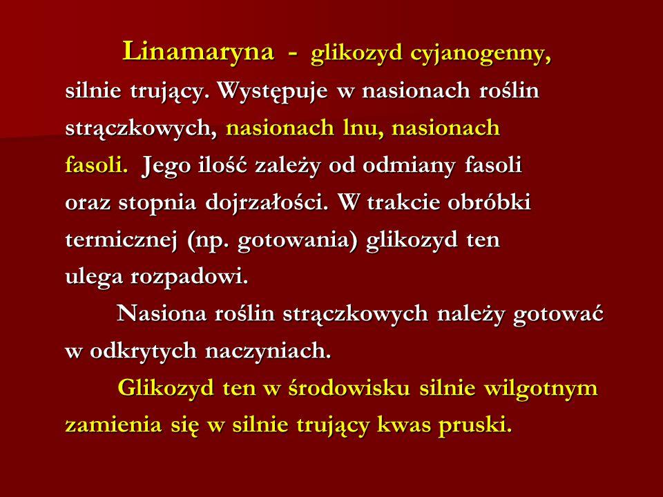 Linamaryna - glikozyd cyjanogenny, Linamaryna - glikozyd cyjanogenny, silnie trujący. Występuje w nasionach roślin strączkowych, nasionach lnu, nasion