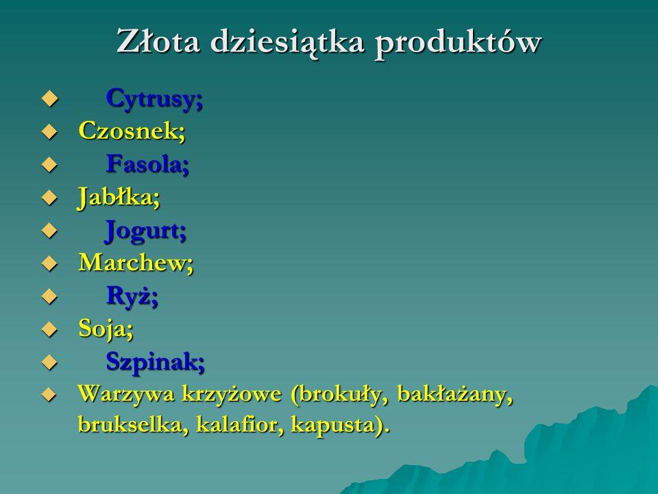 Złota dziesiątka produktów  Cytrusy;  Czosnek;  Fasola;  Jabłka;  Jogurt;  Marchew;  Ryż;  Soja;  Szpinak;  Warzywa krzyżowe (brokuły, bakła
