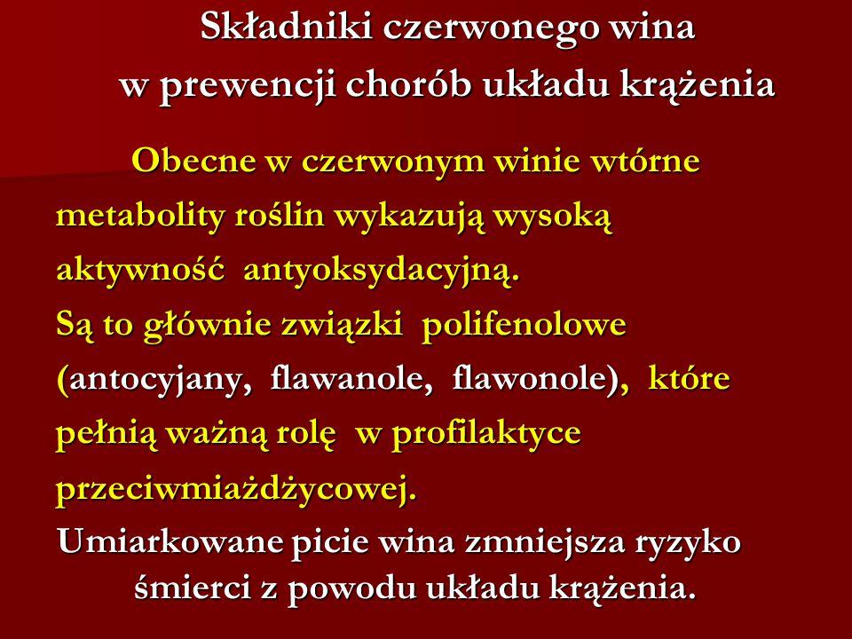 Składniki czerwonego wina w prewencji chorób układu krążenia Obecne w czerwonym winie wtórne Obecne w czerwonym winie wtórne metabolity roślin wykazuj