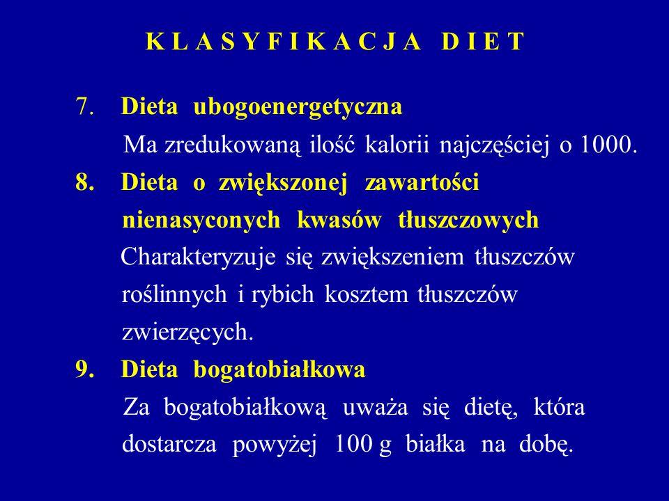 K L A S Y F I K A C J A D I E T 7. Dieta ubogoenergetyczna Ma zredukowaną ilość kalorii najczęściej o 1000. 8. Dieta o zwiększonej zawartości nienasyc