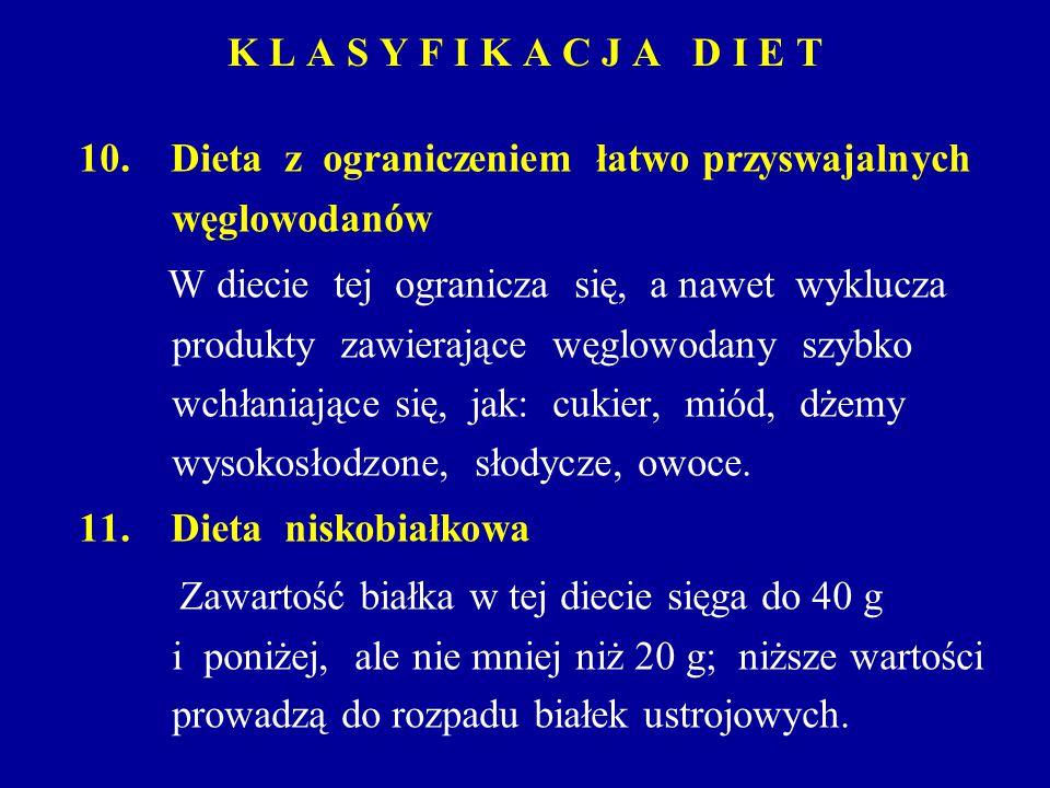 K L A S Y F I K A C J A D I E T 10. Dieta z ograniczeniem łatwo przyswajalnych węglowodanów W diecie tej ogranicza się, a nawet wyklucza produkty zawi
