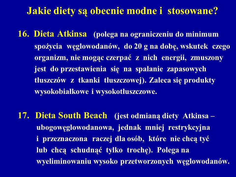 Jakie diety są obecnie modne i stosowane? 16. Dieta Atkinsa (polega na ograniczeniu do minimum spożycia węglowodanów, do 20 g na dobę, wskutek czego o