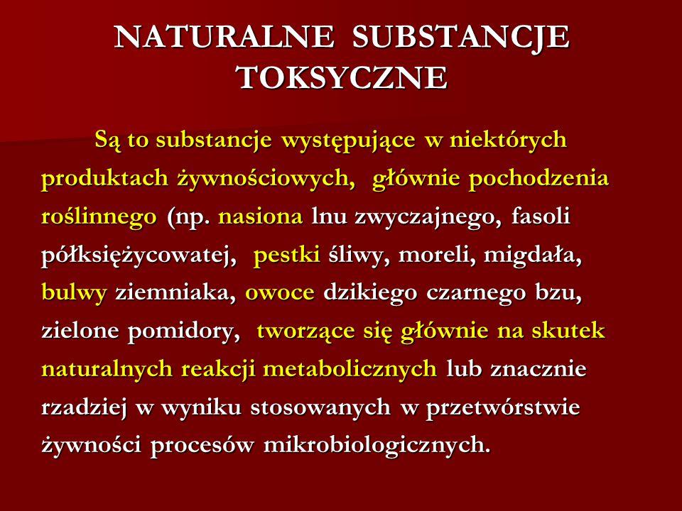 NATURALNE SUBSTANCJE TOKSYCZNE Są to substancje występujące w niektórych Są to substancje występujące w niektórych produktach żywnościowych, głównie p