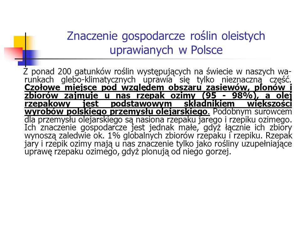 Znaczenie gospodarcze roślin oleistych uprawianych w Polsce Z ponad 200 gatunków roślin występujących na świecie w naszych wa runkach glebo-klimatycz
