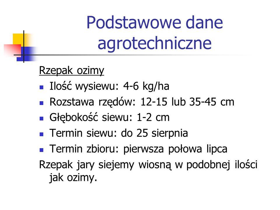 Podstawowe dane agrotechniczne Rzepak ozimy Ilość wysiewu: 4-6 kg/ha Rozstawa rzędów: 12-15 lub 35-45 cm Głębokość siewu: 1-2 cm Termin siewu: do 25 s