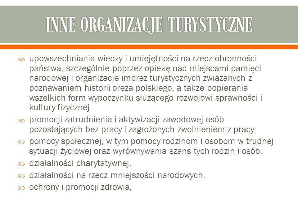  upowszechniania wiedzy i umiejętności na rzecz obronności państwa, szczególnie poprzez opiekę nad miejscami pamięci narodowej i organizację imprez turystycznych związanych z poznawaniem historii oręża polskiego, a także popierania wszelkich form wypoczynku służącego rozwojowi sprawności i kultury fizycznej,  promocji zatrudnienia i aktywizacji zawodowej osób pozostających bez pracy i zagrożonych zwolnieniem z pracy,  pomocy społecznej, w tym pomocy rodzinom i osobom w trudnej sytuacji życiowej oraz wyrównywania szans tych rodzin i osób,  działalności charytatywnej,  działalności na rzecz mniejszości narodowych,  ochrony i promocji zdrowia,
