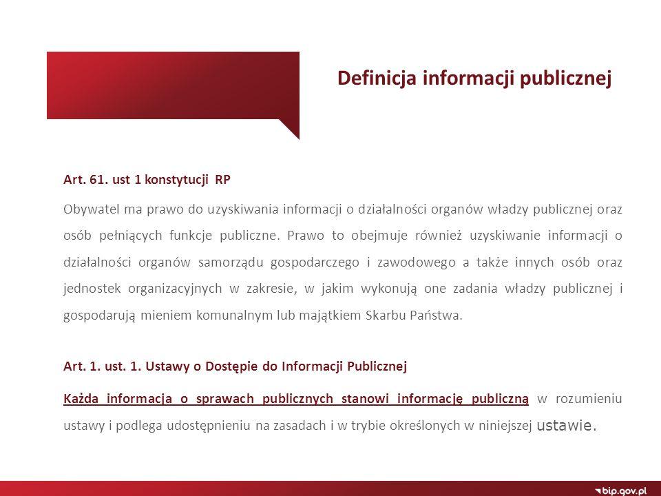 Art. 61. ust 1 konstytucji RP Obywatel ma prawo do uzyskiwania informacji o działalności organów władzy publicznej oraz osób pełniących funkcje public