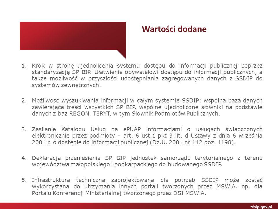 1.Krok w stronę ujednolicenia systemu dostępu do informacji publicznej poprzez standaryzację SP BIP. Ułatwienie obywatelowi dostępu do informacji publ