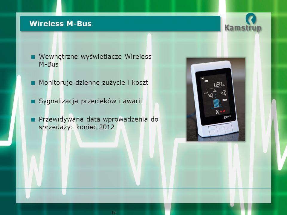  Wewnętrzne wyświetlacze Wireless M-Bus  Monitoruje dzienne zużycie i koszt  Sygnalizacja przecieków i awarii  Przewidywana data wprowadzenia do sprzedaży: koniec 2012 Wireless M-Bus 12