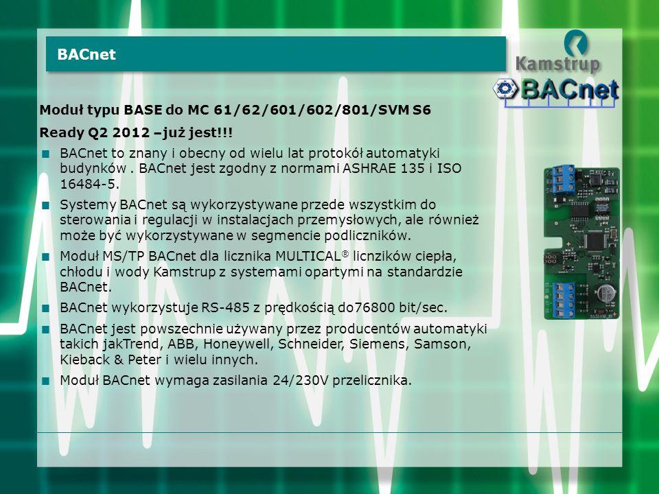 Moduł typu BASE do MC 61/62/601/602/801/SVM S6 Ready Q2 2012 –już jest!!!  BACnet to znany i obecny od wielu lat protokół automatyki budynków. BACnet