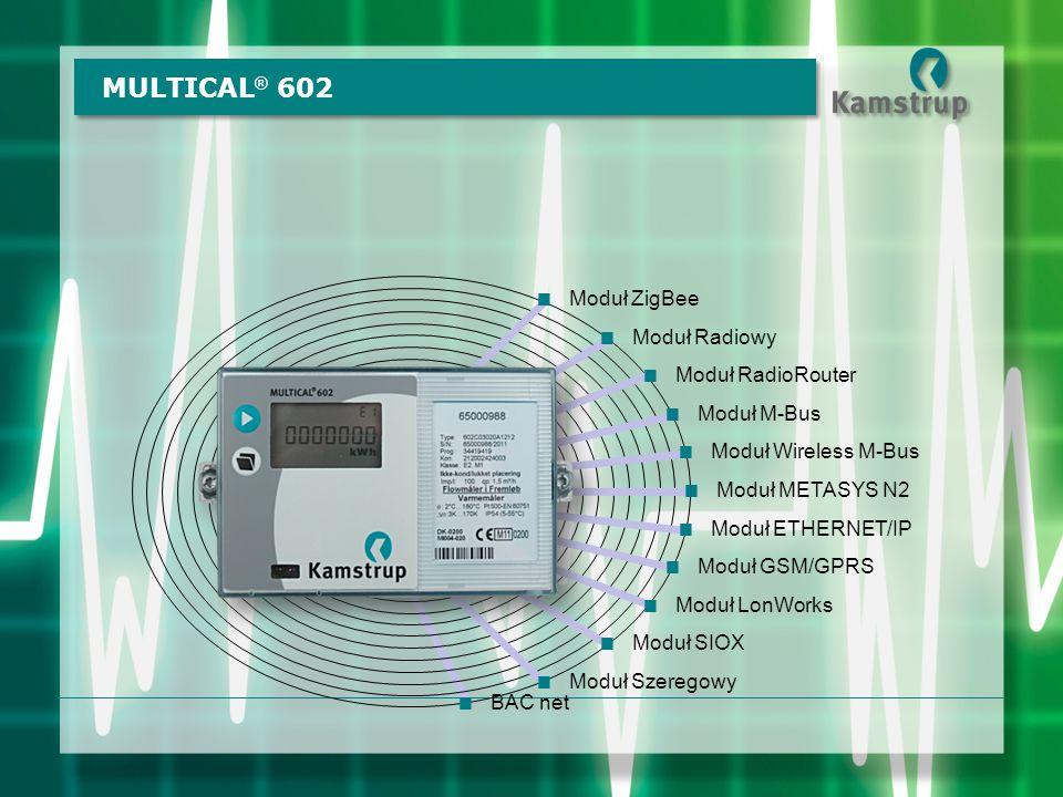 MULTICAL ® 602  Moduł METASYS N2  Moduł LonWorks  Moduł SIOX  Moduł ETHERNET/IP  Moduł GSM/GPRS  Moduł Radiowy  Moduł RadioRouter  Moduł M-Bus  Moduł Wireless M-Bus  Moduł ZigBee  Moduł Szeregowy  BAC net