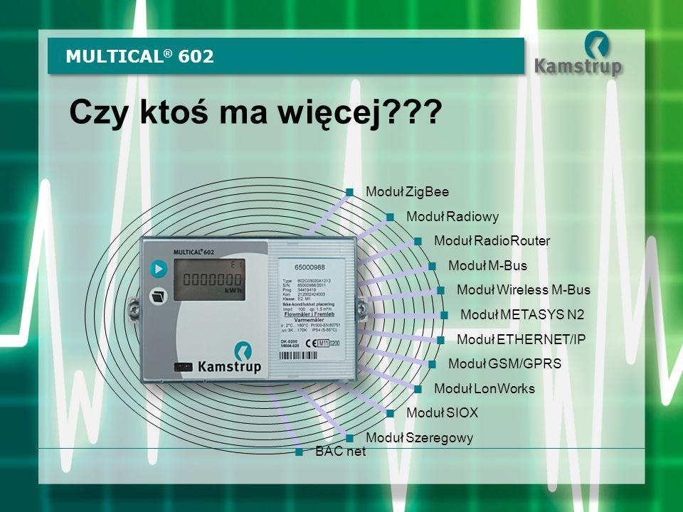MULTICAL ® 602  Moduł METASYS N2  Moduł LonWorks  Moduł SIOX  Moduł ETHERNET/IP  Moduł GSM/GPRS  Moduł Radiowy  Moduł RadioRouter  Moduł M-Bus  Moduł Wireless M-Bus  Moduł ZigBee  Moduł Szeregowy Czy ktoś ma więcej??.