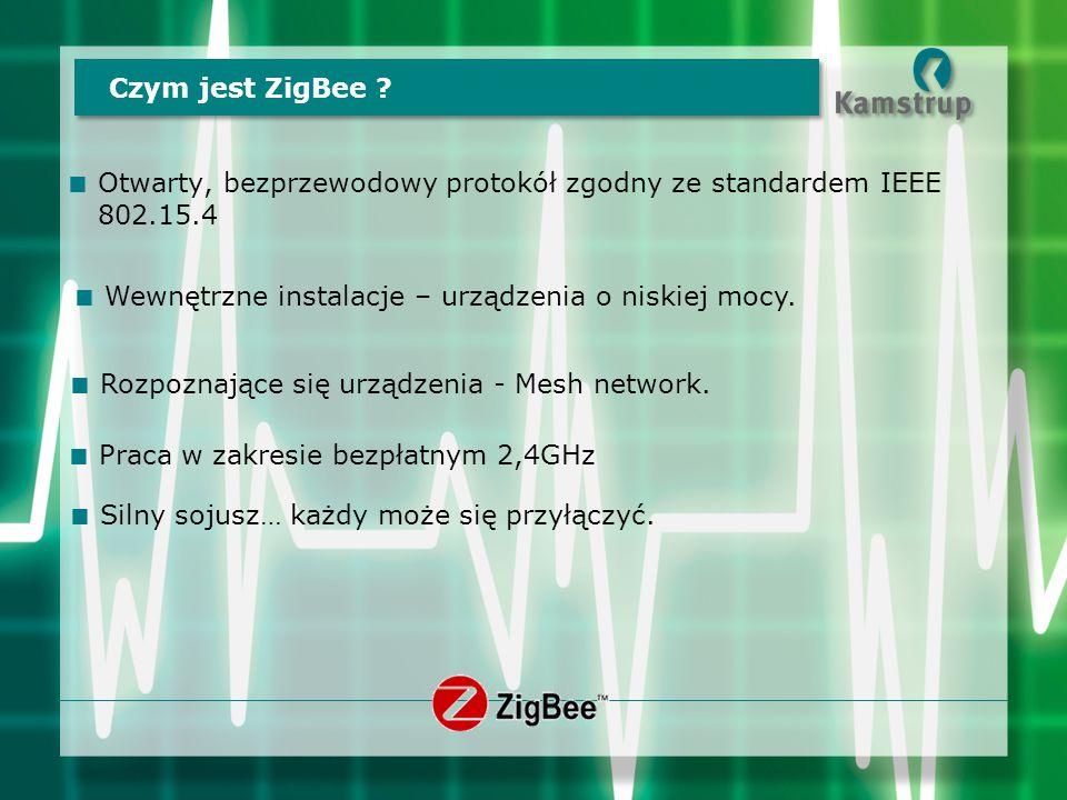Czym jest ZigBee ?  Otwarty, bezprzewodowy protokół zgodny ze standardem IEEE 802.15.4  Wewnętrzne instalacje – urządzenia o niskiej mocy.  Rozpozn