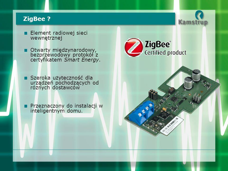 ZigBee ?  Element radiowej sieci wewnętrznej  Otwarty międzynarodowy, bezprzewodowy protokół z certyfikatem Smart Energy.  Szeroka użyteczność dla