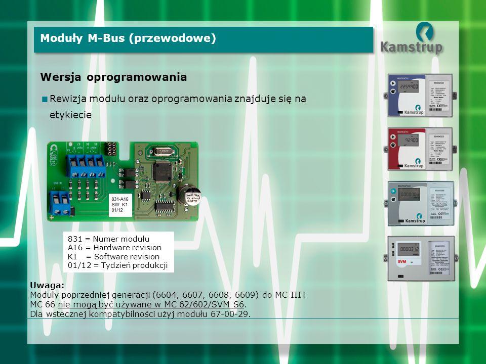 Uwaga: Moduły poprzedniej generacji (6604, 6607, 6608, 6609) do MC III i MC 66 nie mogą być używane w MC 62/602/SVM S6. Dla wstecznej kompatybilności