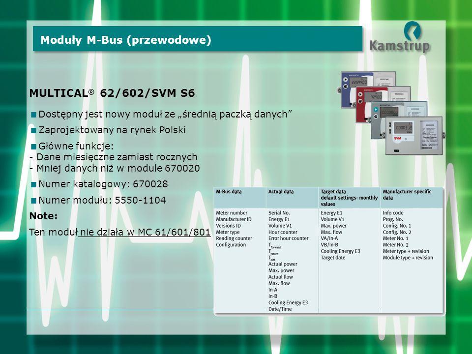 """Moduły M-Bus (przewodowe) MULTICAL ® 62/602/SVM S6  Dostępny jest nowy moduł ze """"średnią paczką danych  Zaprojektowany na rynek Polski  Główne funkcje: - Dane miesięczne zamiast rocznych - Mniej danych niż w module 670020  Numer katalogowy: 670028  Numer modułu: 5550-1104 Note: Ten moduł nie działa w MC 61/601/801"""