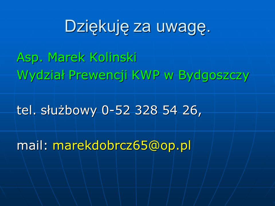 Dziękuję za uwagę. Asp. Marek Kolinski Wydział Prewencji KWP w Bydgoszczy tel. służbowy 0-52 328 54 26, mail: marekdobrcz65@op.pl