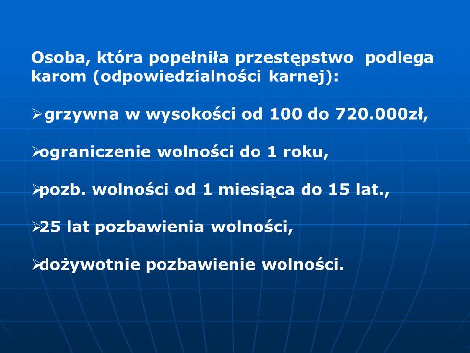 Gdy osoba popełni wykroczenie podlega karom:  nagana,  grzywna od 20 do 5.000 zł,  ograniczenie wolności trwające 1 miesiąc,  areszt od 5 do 30 dni.