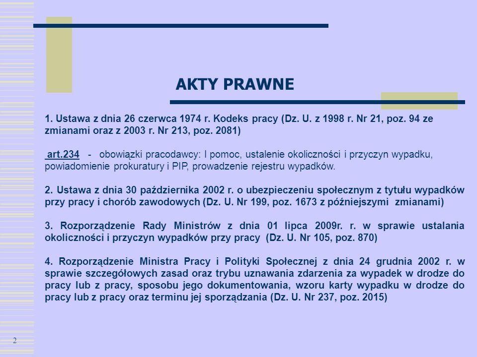 AKTY PRAWNE 1. Ustawa z dnia 26 czerwca 1974 r. Kodeks pracy (Dz. U. z 1998 r. Nr 21, poz. 94 ze zmianami oraz z 2003 r. Nr 213, poz. 2081) art.234 -