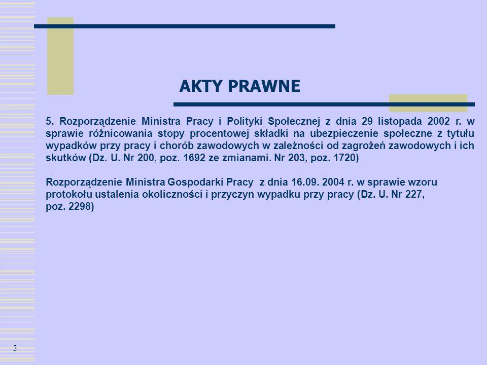 AKTY PRAWNE 5. Rozporządzenie Ministra Pracy i Polityki Społecznej z dnia 29 listopada 2002 r. w sprawie różnicowania stopy procentowej składki na ube